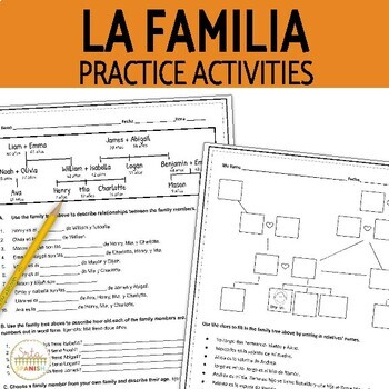La Familia Family Tree & Ages Question Sheet and Answer Key
