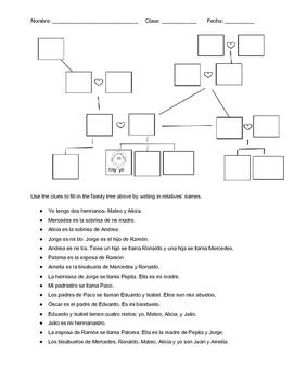 La Familia Fill in the Family Tree Worksheet