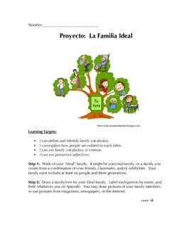 La Familia Ideal - Family Tree Project for Beginning Spanish Students