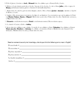 Spanish 1: La Familia Misteriosa (Level 3) Worksheet