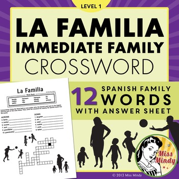 La Familia Spanish Family Crossword Puzzle Worksheet By Miss Mindy