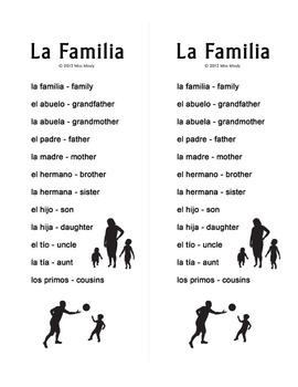 La Familia - Spanish Family Crossword Puzzle Worksheet