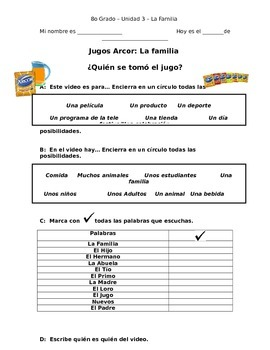 La Familia: Spanish Family Listening Packet