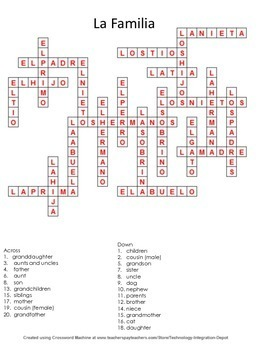 La Familia Spanish Family Puzzles Crossword and Word Search
