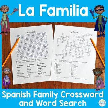 La Familia Spanish Family Puzzles Crossword and Word Search