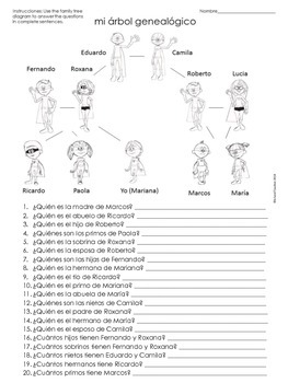 la familia spanish family tree questions worksheet by island teacher. Black Bedroom Furniture Sets. Home Design Ideas