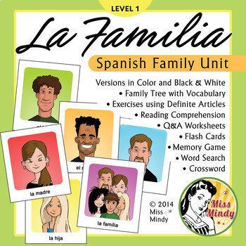 La Familia Spanish Family Unit: Family Tree, Worksheets, Flash Cards BUNDLE