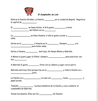 La Familia: Story with grammar and vocabulary in context and review activities