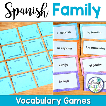 La Familia (The Family) Matching Squares and Flash Cards