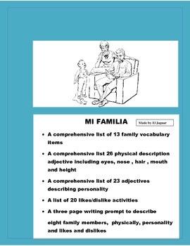 La Familia Proyecto- Power Point/Poster Family Description- Spanish Family