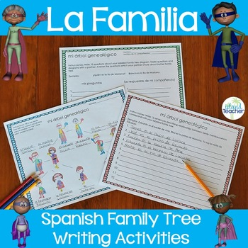 La Familia de Superheroes Spanish Family Vocabulary Writing Activities