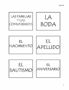 La Familia y Las Comunidades Vocabulary Unit for AP Spanish Language Exam