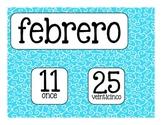 La Fecha - Spanish date printables - Rainbow swirl backgrounds