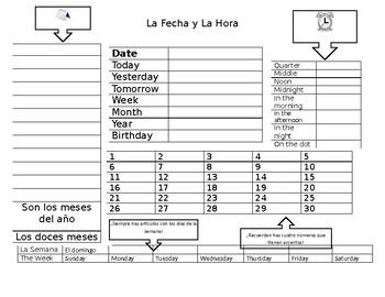 La Fecha y La Hora Quick sheet