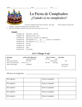 La Fiesta de Cumpleaños - Spanish Speaking Activity
