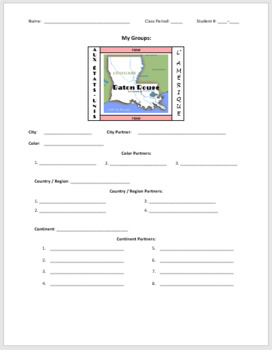 La Francophonie Grouping Sheets for students (MS Word - English version)