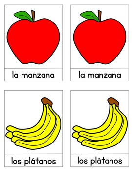 La Fruta Spanish Literacy Matching Cards / Montessori Style / Hands-on