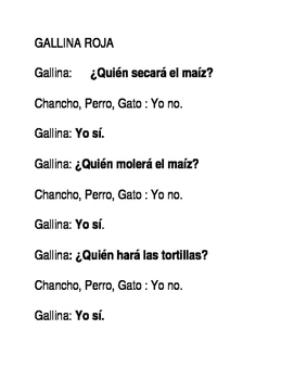 La Gallina Roja- TPRS Script for Spanish class play