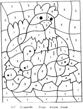 National Bird Day-Color by Number in Spanish-La Gallina y los pollos