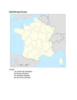 La Géographie: l'Héxagone (worksheet and map)