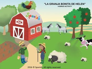 Farm Bingo: A Game on Vocabulary, Description & Actions (Spanish Version)