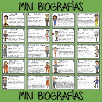 La Herencia Hispana Tarjetas y Mini Biografías