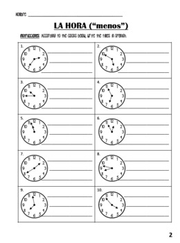 La Hora Packet - Spanish Time Activity Packet