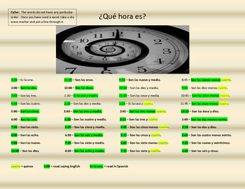 La Hora - Ping Time Game - Que hora es? - What time is it?