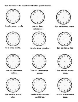 la hora spanish time practice worksheets by senoritameghan tpt. Black Bedroom Furniture Sets. Home Design Ideas