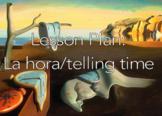 La Hora/Telling Time Lesson Plan: guided notes, fun memes, NO PREP!