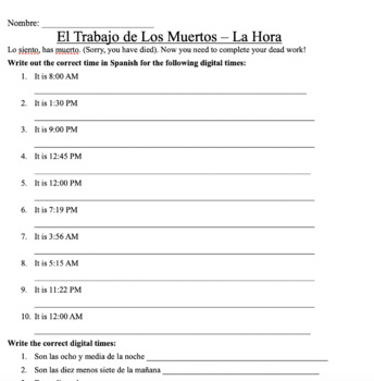La Hora (Time in Spanish) Mafia Game