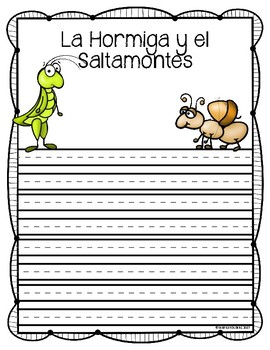 La Hormiga y el Saltamontes Writing Activity