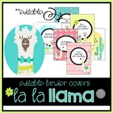 La La Llama EDTIABLE Binder Covers and Spines