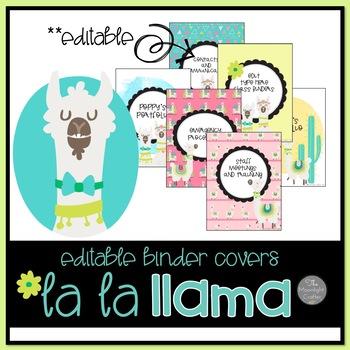 La La Llama EDTIABLE Binder Covers and Spines