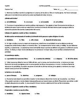 La Lectura - Practice Reading Comprehension - Spanish - Various Topics