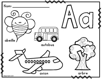 La Lettre Initiale French Alphabet Colouring Posters
