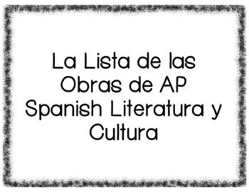 La Lista de Las Obras de AP Spanish Literatura y Cultura