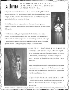 La Llorona Legend Leyenda Spanish Readings & Activities #AUTHRES