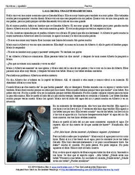 Assessment: La Llorona (reading-based, Spanish II)