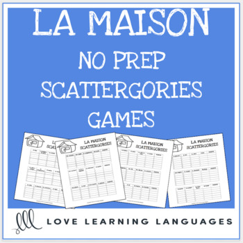 La Maison printable no prep scattergories game - French vocabulary game