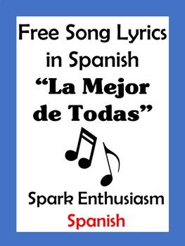 La Mejor de Todas Song Lyrics in Spanish / The Best Song Ever