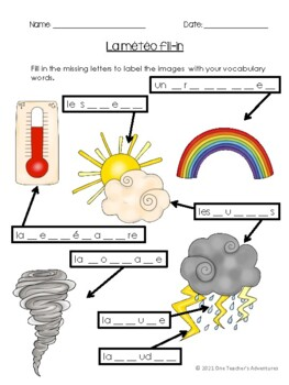 La Météo - French Weather Vocabulary Activities and Quiz (Grade 4-7)