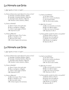 La Montaña Que Brilla (Multiple Choice Quiz)