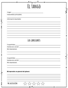 La Música Hispana - Student Information Packet for Hispanic Music Unit