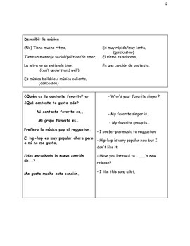 La Música: Listening, Reading, Speaking and writing activities.