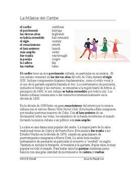 La Música del Caribe: Son y Salsa Lectura y Cultura: Spanish Reading on Music