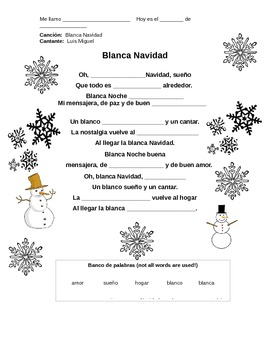 La Navidad - Blanca Navidad Cloze Activity