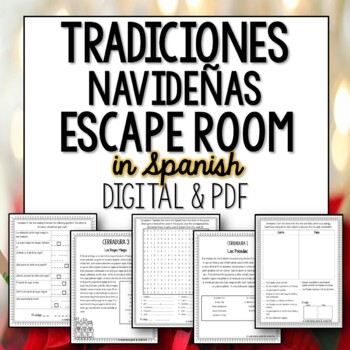 La Navidad Break Out Room Spanish Escape Activity for Christmas