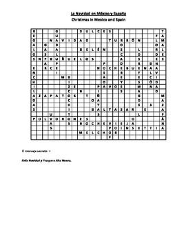 La Navidad en México y España - culture notes and wordsearch