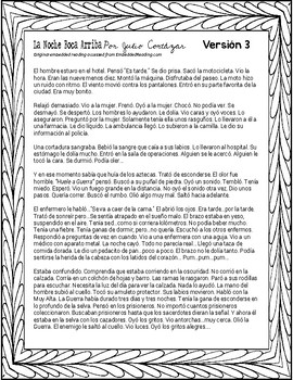 La Noche Boca Arriba Embedded Readings and Activities (level 4) #COVID19WL